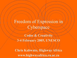 Freedom of Expression in Cyberspace