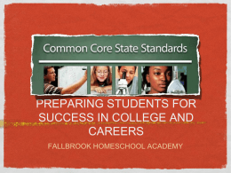 PREPARING STUDENTS FOR SUCCESS IN COLLEGE AND …