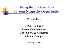 Using the Business Plan In Your Nonprofit Organization