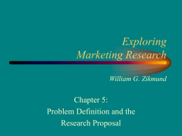 Problem Definition and the Research Proposal