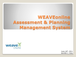 WEAVE Online Assessment & Planning Management System