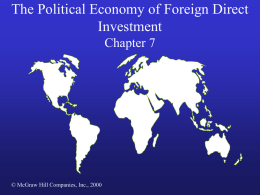 The Political Economy of Foreign Direct Investment Chapter 7