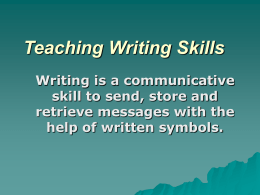 Teaching Writing Skills - State Linguistic University