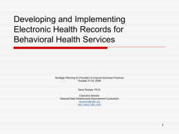 Developing and Implementing Electronic Health Records for