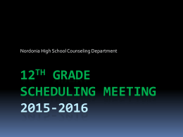 Scheduling Meetings 2012-2013