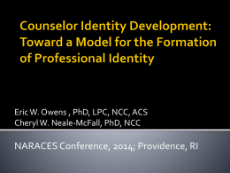 Counselor Identity Development: Toward a Model for the