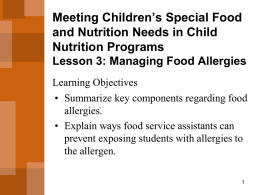 Meeting Children's Special Food and Nutrition Needs in