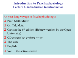 Introduction to Psychology Lecture 1