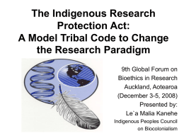 The Indigenous Research Protection Act: A Model Tribal