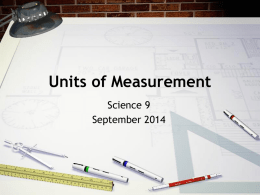 Units of Measurement - Two Rivers High School