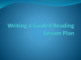 Writing a Guided Reading Lesson Plan