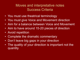 Moves and interpretative notes Success Criteria