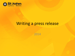 Writing a press release - St John Ambulance in Wales