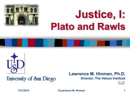Theories of Justice: Plato and Rawls