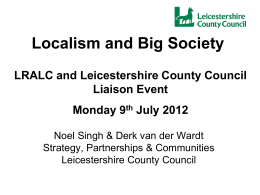 Decentralisation, Localism, Big Society