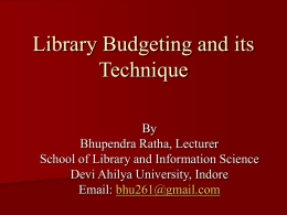 Budgeting and its Techniques - Devi Ahilya Vishwavidyalaya