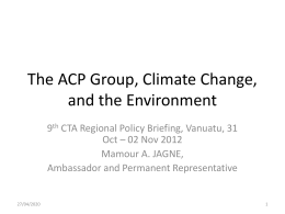 The ACP Group, Climate Change, and the Environment
