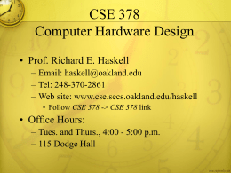 CSE 495/595 Digital Design Using VHDL