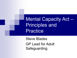 Mental Capacity Act – Principles and Practice