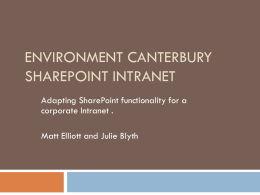 SharePoint in the Environment Canterbury intranet