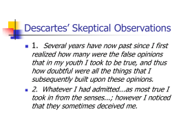 Descartes' Skeptical Observations