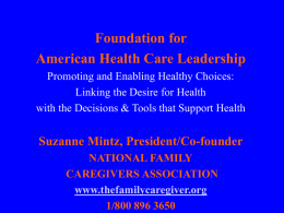 Federal Legislation and Family Caregivers