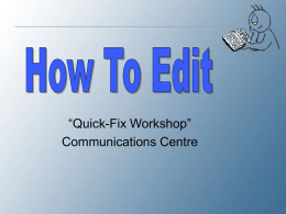 How to Edit' - Mohawk College