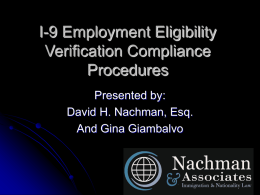 I-9 Employment Eligibility Verification Compliance Procedures