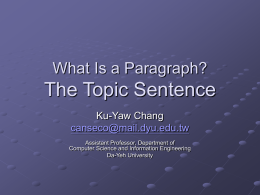 What Is a Paragraph? Topic & Concluding Sentences