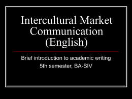 Intercultural Market Communication (English)