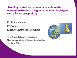 ESCalate – Education Subject Centre: advancing learning