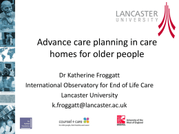 Advance care planning in care homes for older people