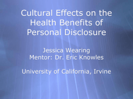 Culture Effects on the Health Benefits of Personal