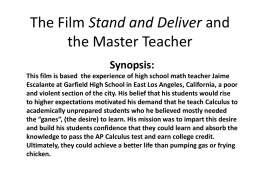Stand and Deliver and the Master Teacher
