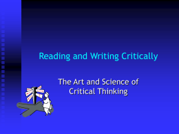 Reading and Writing Critically