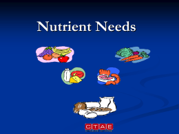 Nutrient Needs - Dublin City Schools