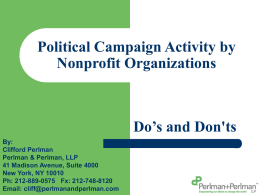 Political Campaign Activity by Nonprofit Organzations