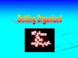 Getting Organized - Oceanside Schools