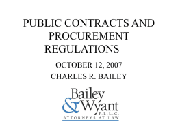 PUBLIC CONTRACTS AND PROCUREMENT REGULATIONS