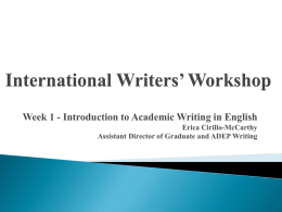 International Writers' Workshop Week 1