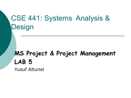 CSE 441: Systems Analysis & Design