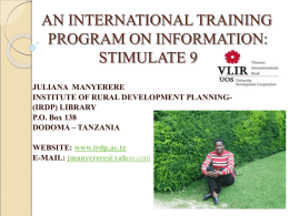 AN INTERNATION TRAINING PROGRAM ON INFORMATION STIMULATE 9