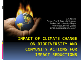 Impact of Climate Change on Biodiversity And Community