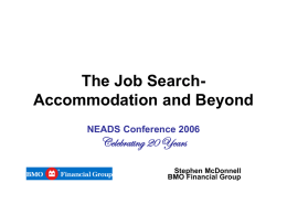 The Job Search, Accommodation and Beyond.