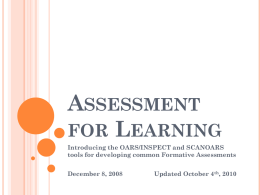 Assessment for Learning - Fresno Unified School District