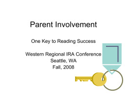 Parent Involvement - International Reading Association