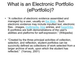 Student Electronic Portfolios for Teaching, Learning, and