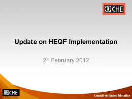 HEQF Review