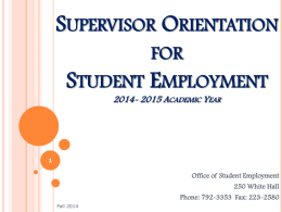 Supervisor Orientation - Welcome to Utica College