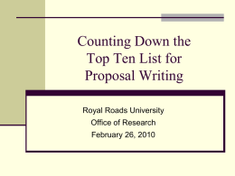 Proposal Writing Workshop